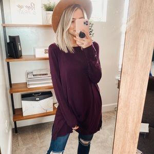 Eileen Fisher | Plum Long Sleeve Shirt Dress Tunic
